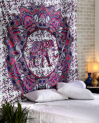Elephant Mandala Wall Hanging Best Christmas Gift Cotton Bedsheet Queen