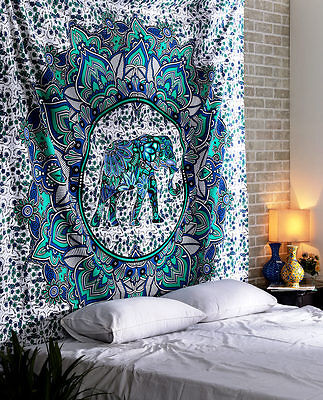Queen Tapestry Mandala Throw Wall Hanging Ethnic Elephant Art Bedspread