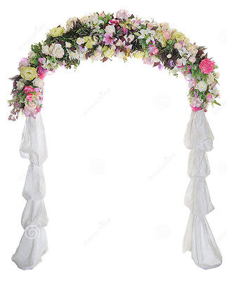 Wedding Arch Way Garden Quinceanera Party Flowers Balloon Decoration White Metal - Decorative Arch