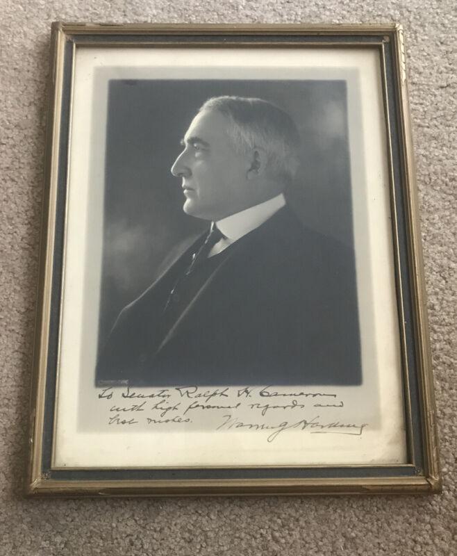 President Warren G. Harding Harris & Ewing Photo Signed - Framed - To A Senator