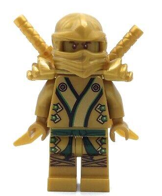LEGO GOLD NINJAGO LLOYD MINIFIGURE RARE W/ DUAL WEAPON SWORDS - THE GOLD NINJA -