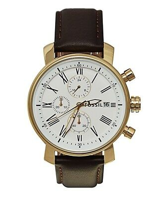 Fossil Rhett Gold Brown Leather Strap Chronograph White Dial 42MM BQ1009 NEW
