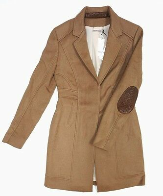 NEW DVF CARA FAWN BROWN SOFT WOOL BLEND COAT JACKET LAMB LEATHER TRIM SIZE 14
