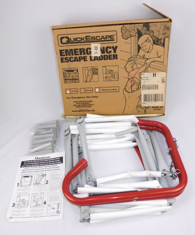 New 12 ft Quick Escape second floor Emergency Steel Ladder Fire Safety Exit