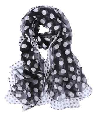(Silk Scarf Black and White Polka Dot Print )