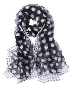 Silk Scarf Black and White Polka Dot Print