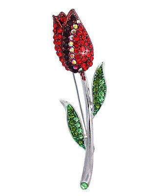 Tulip Flower Brooch Pin Necklace Pendant  Bling Red Women Fashion Jewelry p108r
