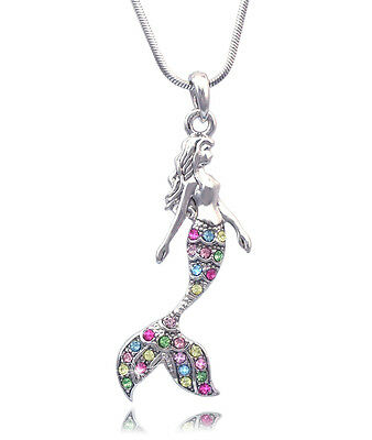 Fairytale Multi Color Colorful Mermaid Pendant Necklace Girl Jewelry n2085m