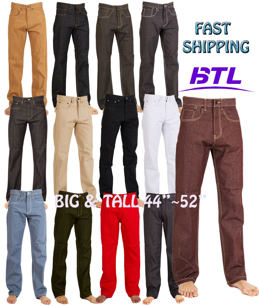 MEN JEANS BIG AND TALL RAW DENIM RELAXED FIT PANTS