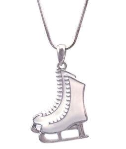 White Enameled Ice Figure Skating Skates Pendant Necklace Gift for Skater