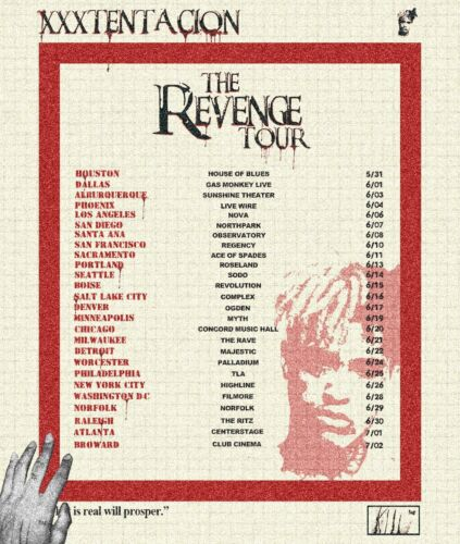 "XXXTENTACION ""THE REVENGE TOUR: CONCERT DATES"" 2017 USA CONCERT POSTER"