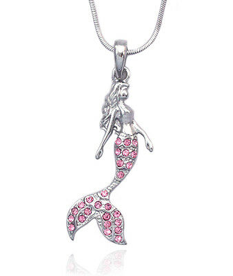 Fairytale Pink Crystal  Mermaid Pendant Necklace Girl Jewelry n2085p