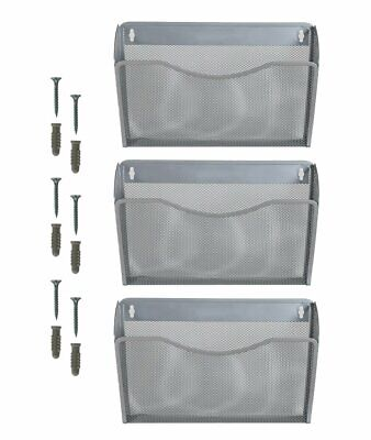 3 Pocket Hanging Wall File Holder Organizer Magazine Rack Silver