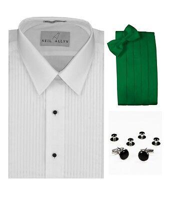 Green Tuxedo Shirt (Tuxedo Shirt, Kelly Green Cummerbund, Bow-Tie, Cuff Links & Studs #937 )