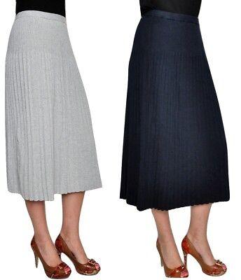 Michael Kors Midi Pleated Skirt Cotton Blend Jersey Knit Navy/Gray S/M/L/XL $135