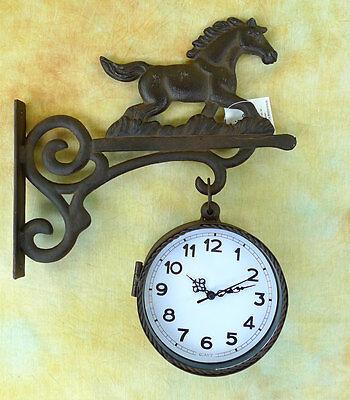 Wanduhr Doppeluhr Ausleger Pferd Hängeuhr Gußeisen Uhr 0955296-b