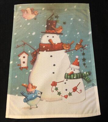 "Toland Small Garden Flag 12""x17"" SNOWMEN & BIRDS Winter Scene"