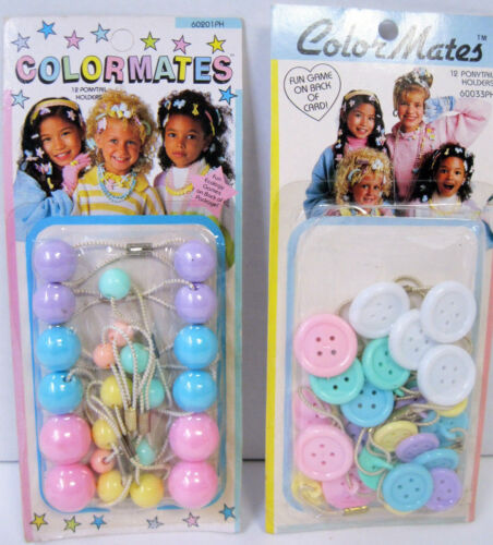 Vtg New 80s You Choose Pastel Ball Button Hair Ties Ponytail Holders In Package
