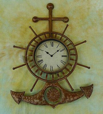 Wanduhr Anker Steuerrad Schiffsteuerrad Maritime Dekoration Uhr 0944370-b