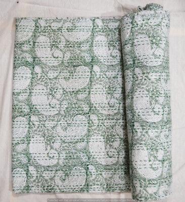 Baumwolle indische Quilt Kantha Königin Bettdecke Hand Block Print Tagesdecke ()