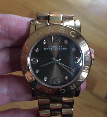 Marc Jacobs Women's Amy Rose Gold Tone Steel Band Brown Dial Watch MBM3167