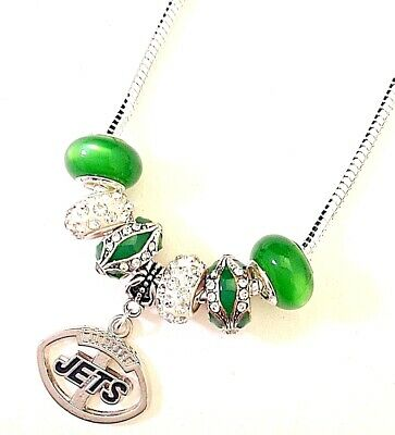 New York Jets NFL Football Charm Necklace Euro Bead QUALITY FAST SHIP USA](Football Bead Necklace)
