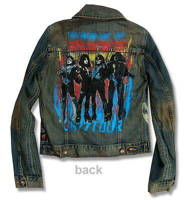 Kiss & Trunk Designer '77 Tour Distressed Denim Jacket - Ladies Small S