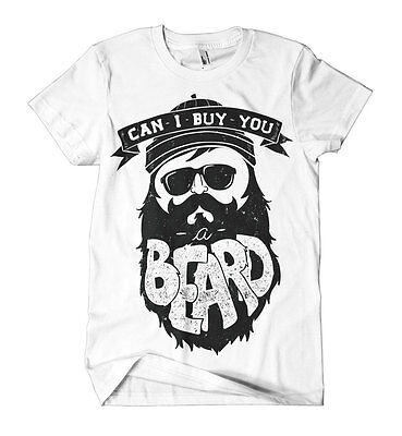 Can I Buy You A Beard Printed T-Shirt Hipster Moustache Print Mens Girls Tee New - Buy A Mustache