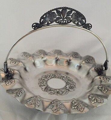 Silverplate Brides Basket Vtg Pairpoint Mfg Quadruple Silver Plate Repousse