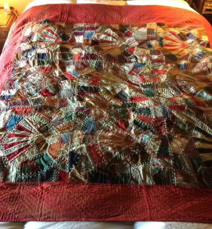 Vintage Early Dazzling Gorgeous Crazy Antique Quilt 1900s  Full Backing Unique