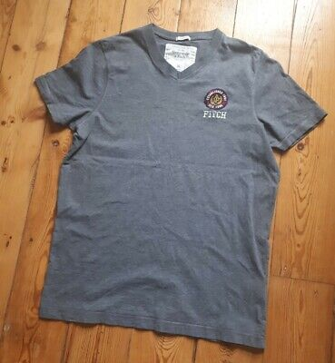 Mens Size XL Extra Large Abercrombie & Fitch Grey V Neck Tshirt