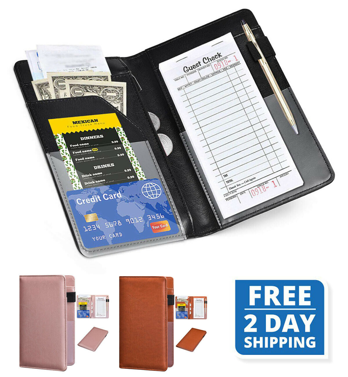 WAITER WAITRESS SERVER BOOK ORGANIZER WALLET THE MOBILE OFFICE w// GUEST CHECK
