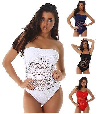 Trendy Damen Monokini Beachwear Badeanzug Bikini Häkelspitze - Trendy Monokini