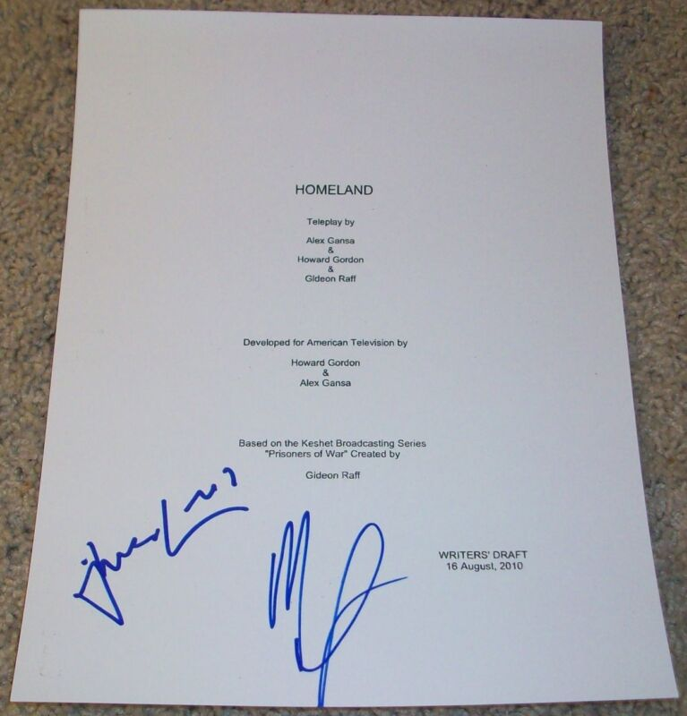 MANDY PATINKIN & DAMIAN LEWIS SIGNED HOMELAND FULL 62 PAGE PILOT SCRIPT w/PROOF