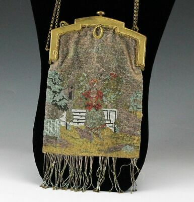 French Micro Hand Beaded Fringe Handbag Purse Gold Plated Metal Frame, c1890