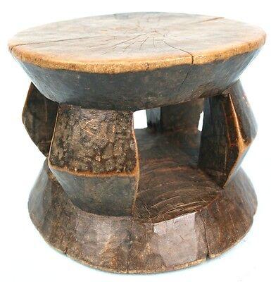Art African - ANTIQUE & COMMON - Stool Logboat Akan - Quality Item - 19,5 Cm
