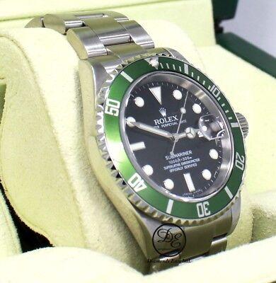 ROLEX Submariner 16610V Anniversary Model Green Bezel Black Dial B/PAPER! *MINT*