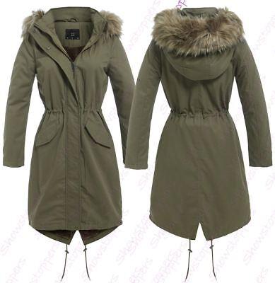 WOMENS Faux Fur PARKA FLEECE LINED LONG COAT Size 8 10 12 14 16 Fishtail (Lined Long Coat)