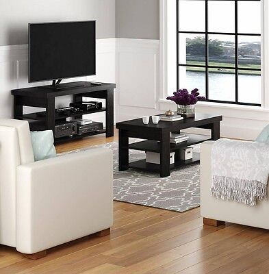 Black Ash 2 Piece Living Room Coffee Table TV Stand Set Home Accent Furniture