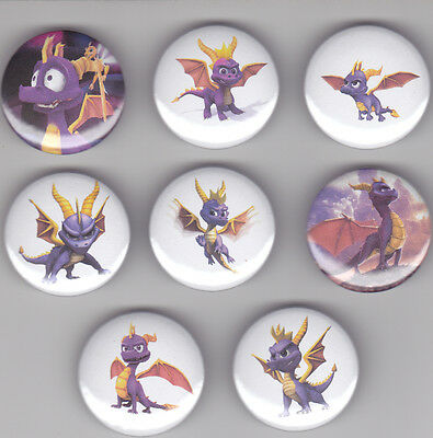 Spyro The Dragon Set of 8 Pinback Buttons Pins Badges