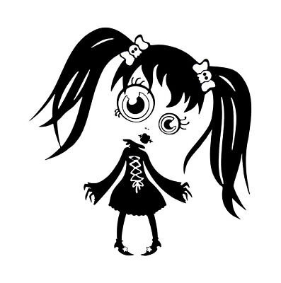 Gothic girl  vinyl wall decal or car - Gothic Girl