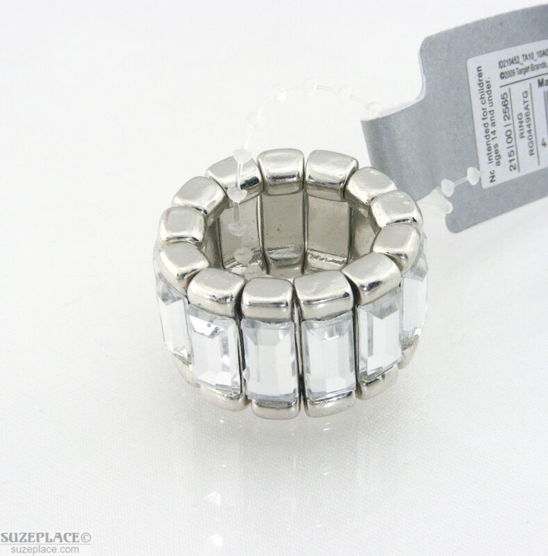 NEW TARGET RHINESTONE FASHION RING SILVER TONE FLEX BAND NWT