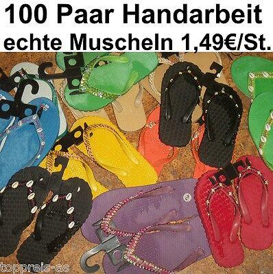 100x BADELATSCHEN SANDALEN Muscheln Pailletten Damen Kinder Konkursware Posten