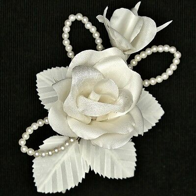 WHITE IVORY Bridal Rose Wedding Corsage Bridesmaids Hair Flower Buttonhole