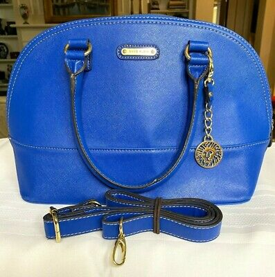 ANNE KLEIN ~ BRIGHT BLUE DOME SATCHEL PURSE ~ VEGAN LEATHER ~ DETACHABLE STRAP