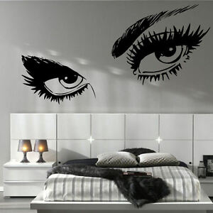 Large woman eyes salon lips bedroom wall mural giant art graphic sticker vinyl - Decoration mural salon ...