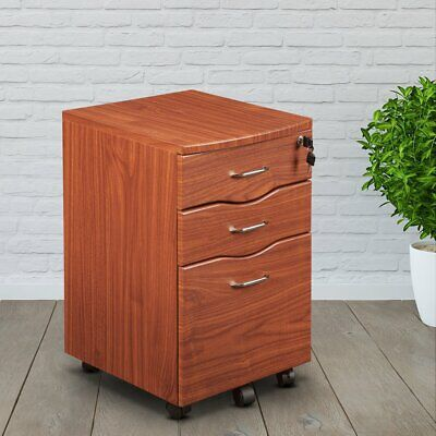 Mahogany Storage File Cabinet (Mobile File Cabinet with 2 Drawers 1 Storage and Locking Mechanism in Mahogany )