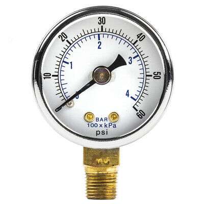 18 Npt Air Compressor Hydraulic Pressure Gauge 0-60 Psi Side Mount 1.5 Face