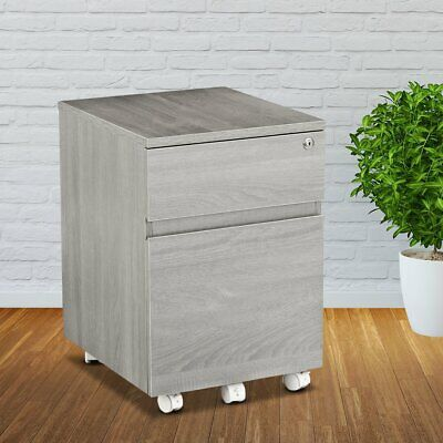 Mobile Rolling Vertical File Cabinet With 2 Drawers Locking Mechanism In Grey