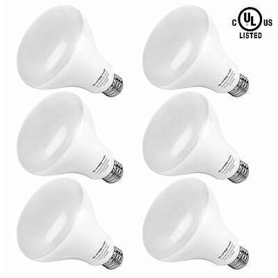 6X 65W Incandescent Equivalent BR30 LED Light Bulbs Daylight White E26 UL Flood